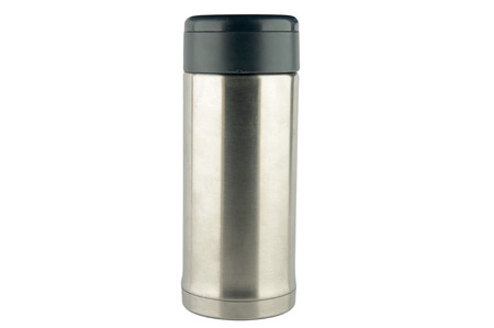 Stainless vacuum bottle on white background Stock Photo