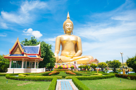 Big golden Buddha at Wat Muang of Ang Thong province Thailand Stock Photo - 28375869