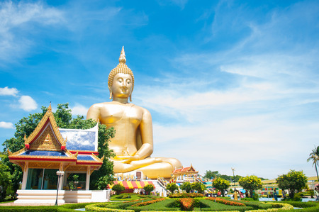 angthong: Big golden Buddha at Wat Muang of Ang Thong province Thailand