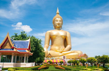 Big golden Buddha at Wat Muang of Ang Thong province Thailand Stock Photo - 28375873