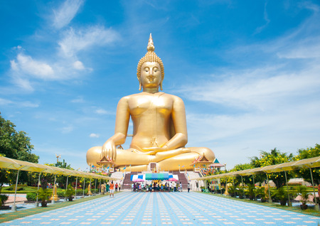 Big golden Buddha at Wat Muang of Ang Thong province Thailand Stock Photo - 28360237