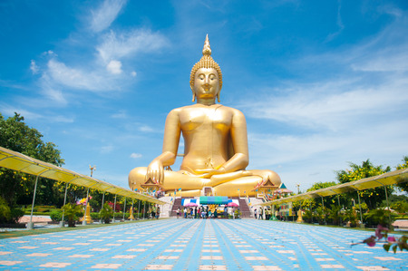 Big golden Buddha at Wat Muang of Ang Thong province Thailand Stock Photo - 28360238