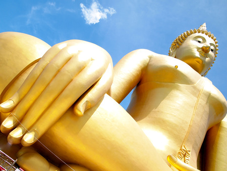 Big golden Buddha at Wat Muang of Ang Thong province Thailand photo