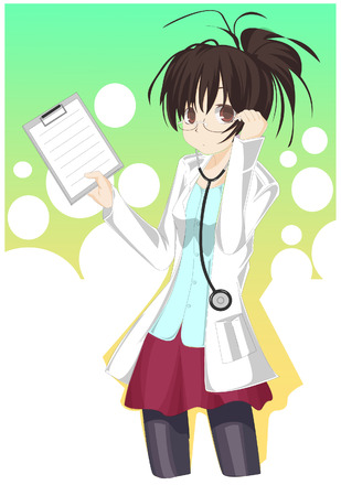 Female doctor and chart on hand in japanese style Vector