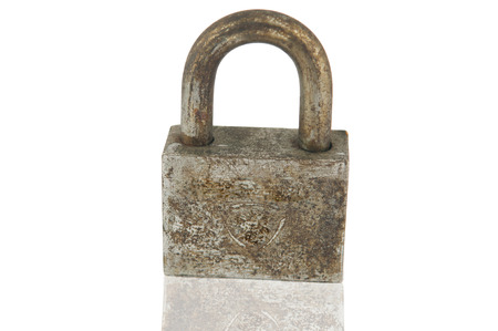 thieving: Rust iron lock on white