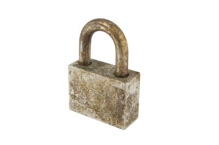 loc: Rust iron lock on white