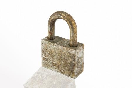 thieving: Rust iron lock on white
