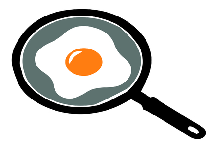fried eggs: Fried eggs on stainless steel pan
