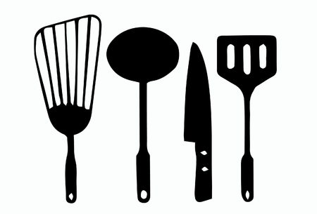 kitchen ware: Vector of kitchen ware white background