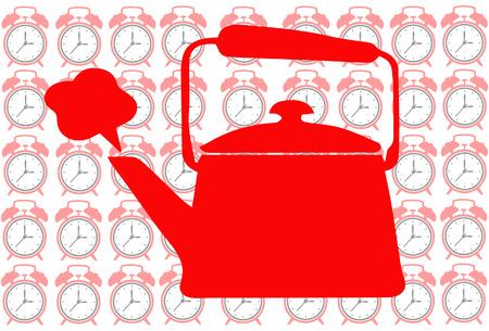 show time: Tea pot on clock background show tea time concept