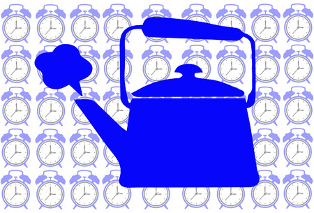 Blue Tea pot on clock background show tea time concept Vector