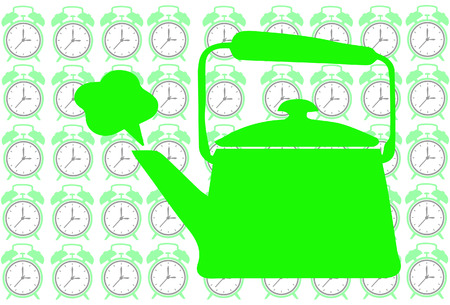 Green Tea pot on clock background show tea time concept Vector