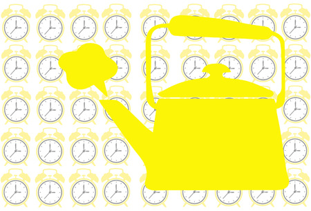 Tea pot on clock background show tea time concept Vector