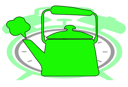 Vector tea pot on clock show tea time Vector