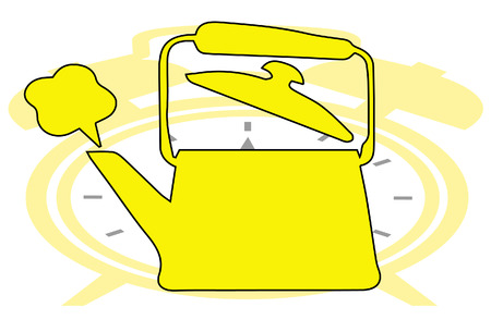 show time: Vector tea pot on clock show tea time