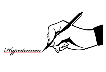 hand write: Hand write wording hypertension & quote and red underline