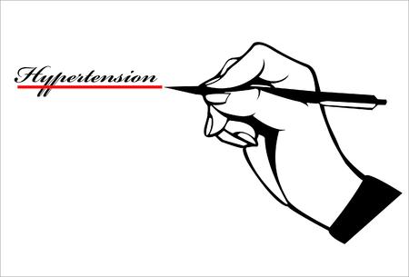 hand write: Hand write wording hypertension quote and red underline