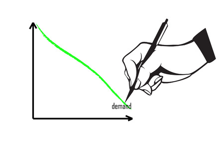 on demand: Hand and pen drawing demand graph Illustration