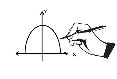parabola: Hand and pen drawing parabola graph