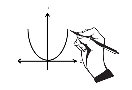 parabola: Hand with pen drawing parabola graph