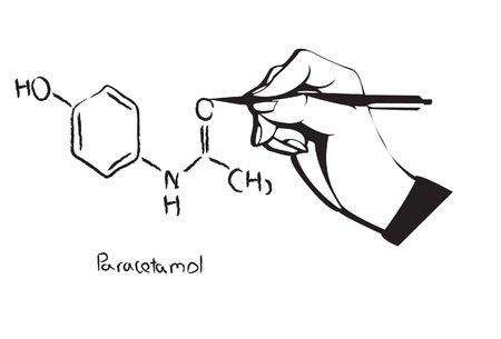 paracetamol: Paracetamol and acetaminophen molecule structure drawing with hand