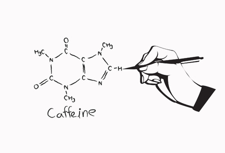 caffeine: Caffeine chemical structure with hand and pen