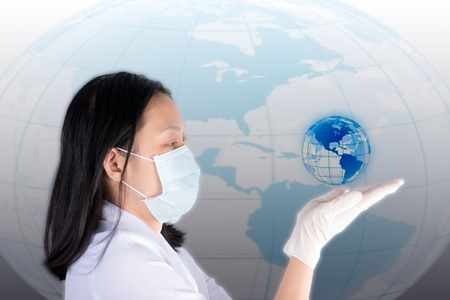 glowing earth: Technician hold and look glowing earth on hand Stock Photo