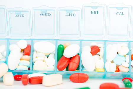 pill box: Medicine tablet and capsule in weekly pill box