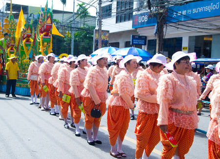 parades: SURATTHANI, THAILAND - OCTOBER 28 : The parades of Chak Phra Festival on October 28, 2015 in Suratthani, Thailand. Chak Phra is the traditional of buddhist festival in Suratthani. Stock Photo