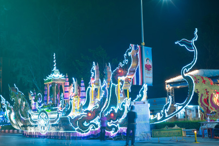 parades: SURATTHANI, THAILAND - OCTOBER 27 : Barge is decorated on parades in Chak Phra Festival on October 27, 2015 in Suratthani, Thailand. Chak Phra is the traditional of buddhist festival in Suratthani.