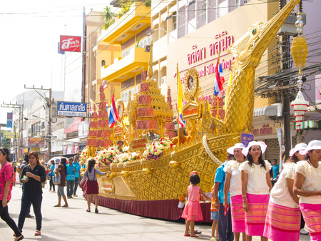 parades: SURATTHANI, THAILAND - OCTOBER 28 : The parades of Chak Phra Festival on October 28, 2015 in Suratthani, Thailand. Chak Phra is the traditional of buddhist festival in Suratthani. Editorial