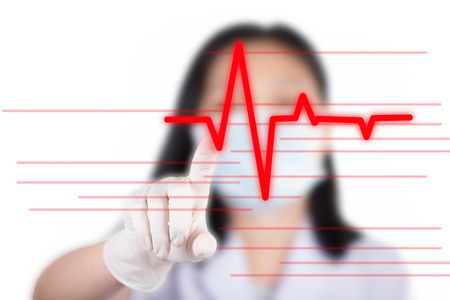 pressing: Nurse pressing cardiogram button show cardiology concept
