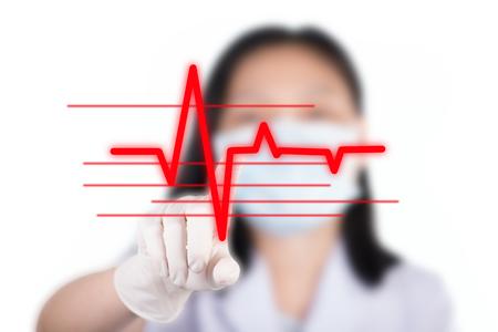 pressing: Nurse pressing cardiogram show cardiology concept Stock Photo