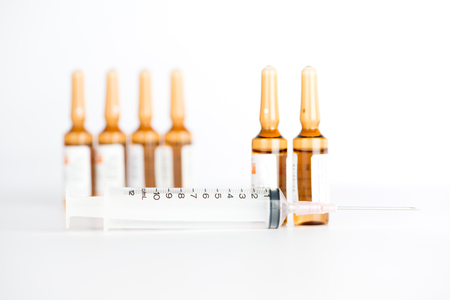 Injection ampule and disposable syringe Stock Photo