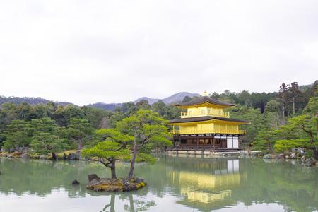 KYOTO,JAPAN - February 1, 2016 : Kinkakuji or Golden Temple in winter, Kyoto, Japan Editorial