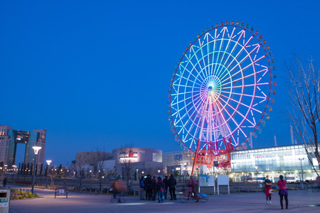 Odaiba, Japan - Jan 28 2016: night view of Giant ferris wheel at Odaiba in Tokyo, Japan