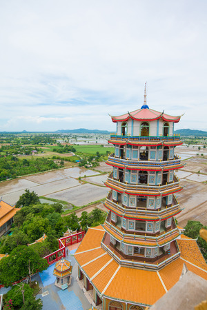 Chinese tower at Wathumsua, kanchanaburi, Thailand Stock Photo