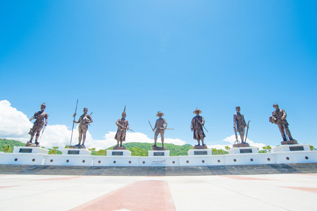Prachuabkhirikhan, Thailand - July 17, 2016 : Statues of seven kings of Thailand at Rajabhakti (Ratchapak) Park in Prachuabkhirikhan,Thailand