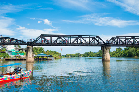 KANCHANABURI, THAILAND - August 14, 2017 : The river Kwai bridge famous for history in second wold war in Kanchanaburi, Thailand Stock Photo