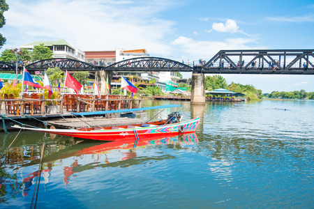 KANCHANABURI, THAILAND - August 14, 2017 : The river Kwai bridge famous for history in second wold war in Kanchanaburi, Thailand Editorial