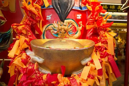 Singapore - 03 Nov 2017 : Closed up Chiness gold ingot at Kwan Im Thong Hood Cho Templ at  Bugis , Singapore Editorial
