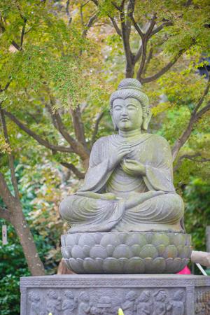 Stone Buddist statues of Hase-dera temple in Kamakura, Japan. Standard-Bild - 115465732