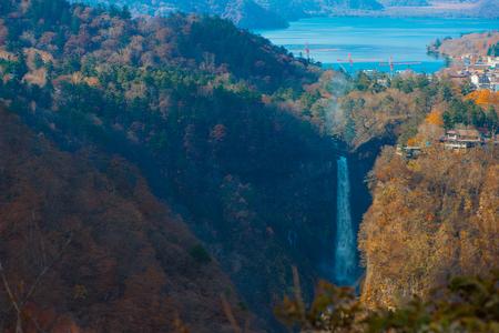 Kegon Falls and Chuzenji lake view at Akechidaira Ropeway of Nikko, Japan. Standard-Bild