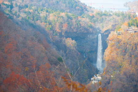 Kegon Falls and Chuzenji lake view at Akechidaira Ropeway of Nikko, Japan. Standard-Bild - 115474793