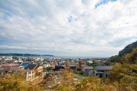 Kamakura, Japan - November 07, 2018:View lookout to sea from Haze-dera temple or Hase-kannon temple in Kamakura,Japan