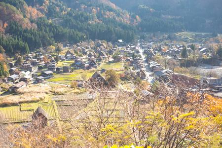 View of Traditional gassho-zukuri house in autumn season at Shirakawa-go,Japan Reklamní fotografie