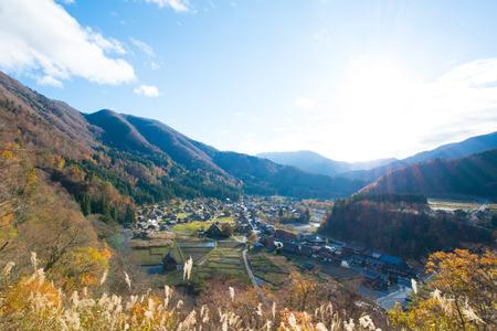 View of Traditional gassho-zukuri house in autumn season at Shirakawa-go,Japan 版權商用圖片
