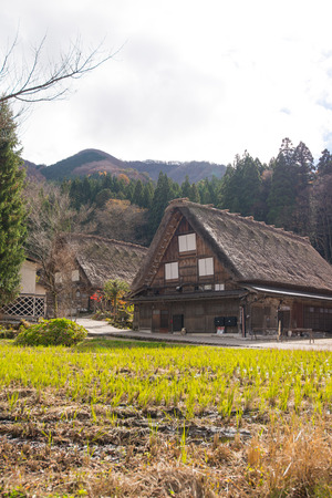 Shirakawa-go, Japan - November 15, 2018: Traditional gassho-zukuri house in Shirakawa-go,Japan.Shirakawa-go is World Heritage Sites located in Gifu Prefecture, Japan