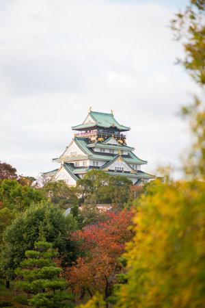 Osaka Castle in autumn season at Osaka, Japan