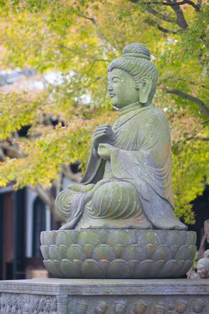 Stone Buddist statues of Hase-dera temple in Kamakura, Japan. Banque d'images